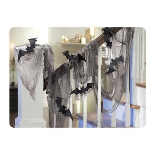 Obrázek z Halloweenská dekorace síť s netopýry 61 x 457 cm