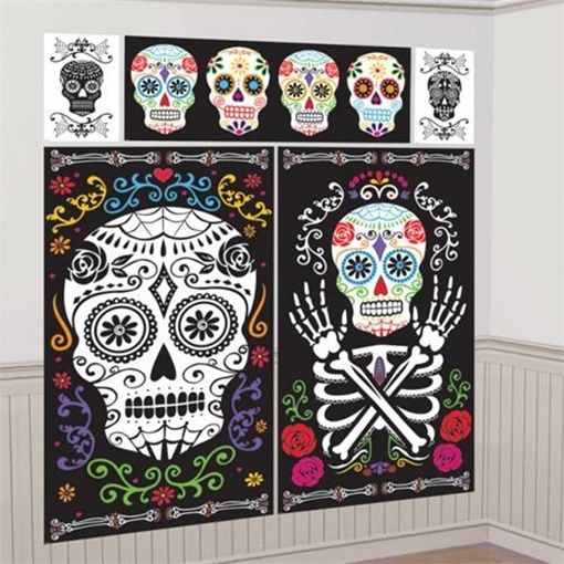 Obrázek z Halloweenská dekorace na zeď - Day of the dead 5 ks