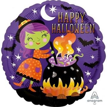 Obrázek Foliový balonek Happy Halloween - čarodejnice 43 cm