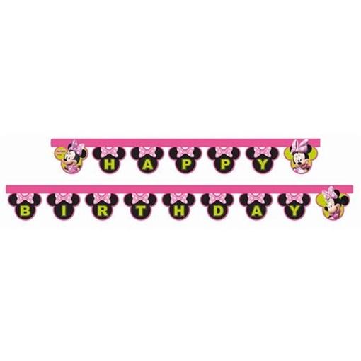 Obrázek z Party nápis Minnie Helpers Happy Birthday 200 cm