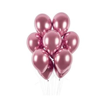 Obrázek Latexové balonky chrome růžové 33 cm - 50 ks