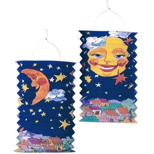 Obrázek z Závěsný lampion válec Slunce a měsíc 28 cm
