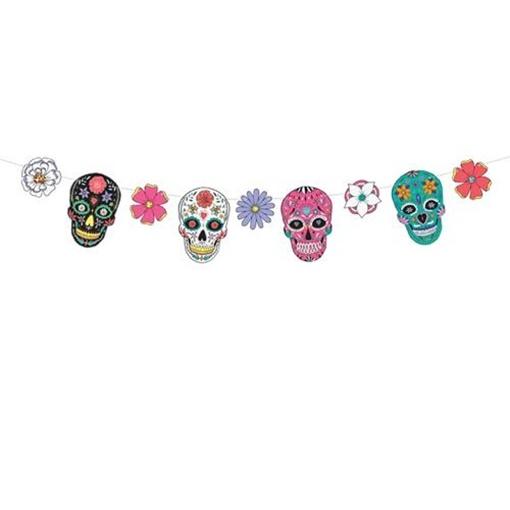Obrázek z Barevná girlanda lebky Dia de los Muertos 120 cm