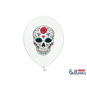Obrázek Latexové balonky bílé Dia de los Muertos 6 ks