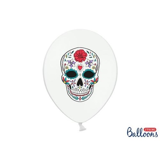 Obrázek z Latexové balonky bílé Dia de los Muertos 6 ks