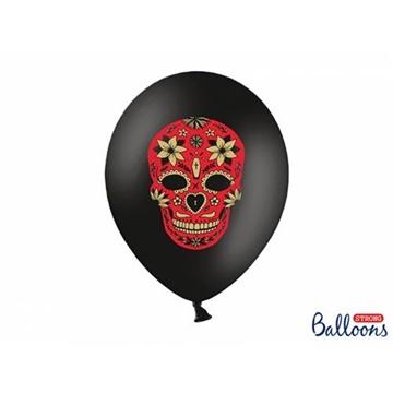 Obrázek Latexové balonky černé Dia de los Muertos 6 ks