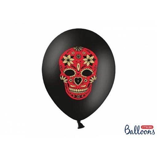 Obrázek z Latexové balonky černé Dia de los Muertos 6 ks