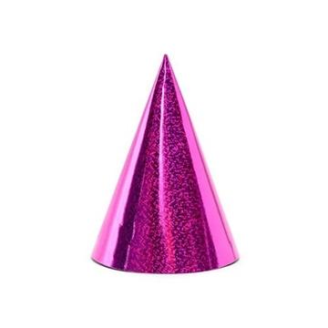 Obrázek Papírové čepičky holografické růžové 6 ks
