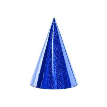 Obrázek Papírové čepičky holografické modré 6 ks