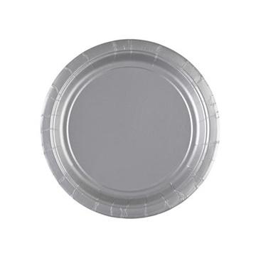 Obrázek Papírové talířky stříbrné 18 cm - 8 ks