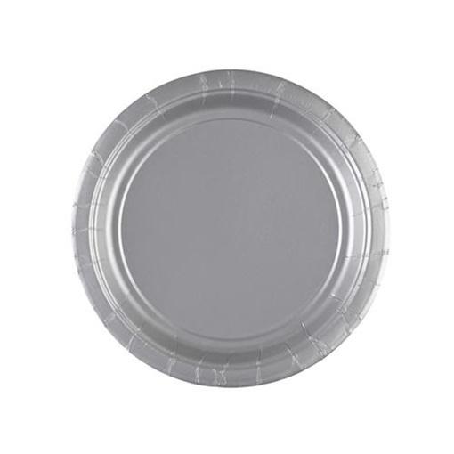 Obrázek z Papírové talířky stříbrné 18 cm - 8 ks
