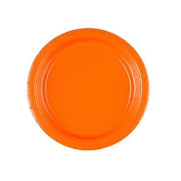 Obrázek Papírové talířky oranžové 18 cm - 8 ks