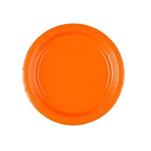Obrázek z Papírové talířky oranžové 18 cm - 8 ks