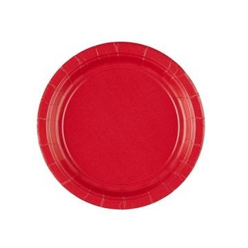 Obrázek Papirové talířky červené 18 cm - 8 ks