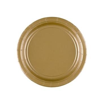 Obrázek Papírové talířky zlaté 18 cm - 8 ks