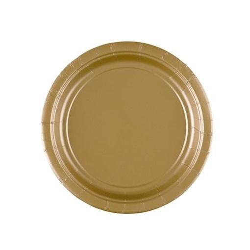 Obrázek z Papírové talířky zlaté 18 cm - 8 ks