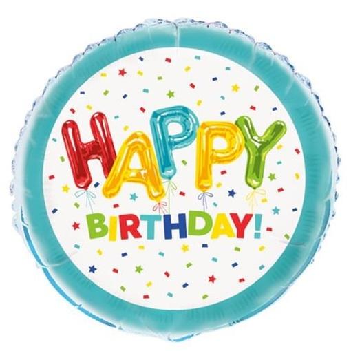 Obrázek z Foliový balonek konfetový Happy Birthday 45 cm