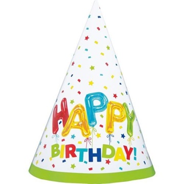 Obrázek Papírové čepičky konfetové Happy Birthday 8 ks