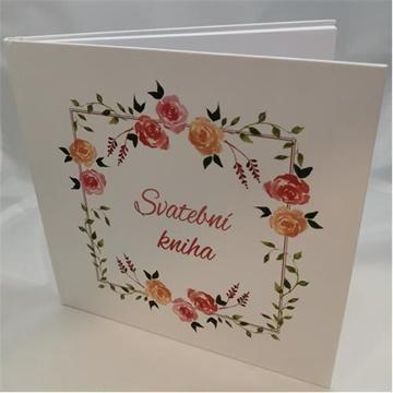 Obrázek Svatební kniha hostů s českým nápisem - růže