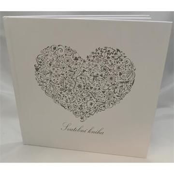 Obrázek Svatební kniha hostů s českým nápisem - srdce