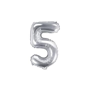 Obrázek Foliová číslice - stříbrná 5 - 35 cm