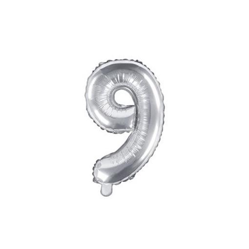 Obrázek z Foliová číslice - stříbrná 9 - 35 cm