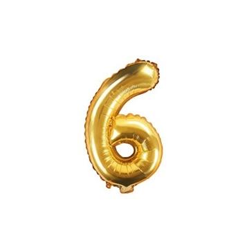 Obrázek Foliová číslice - zlatá 6 - 35 cm