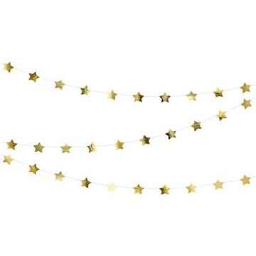 Obrázek Závěsná girlanda hvězdičky zlaté 360 cm
