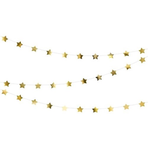 Obrázek z Závěsná girlanda hvězdičky zlaté 360 cm