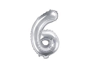 Obrázek Foliová číslice - stříbrná 6 - 35 cm
