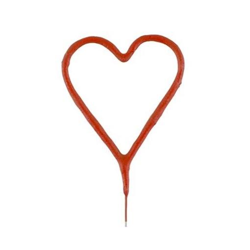 Obrázek z Ozdoba na dort - prskavka srdce červené