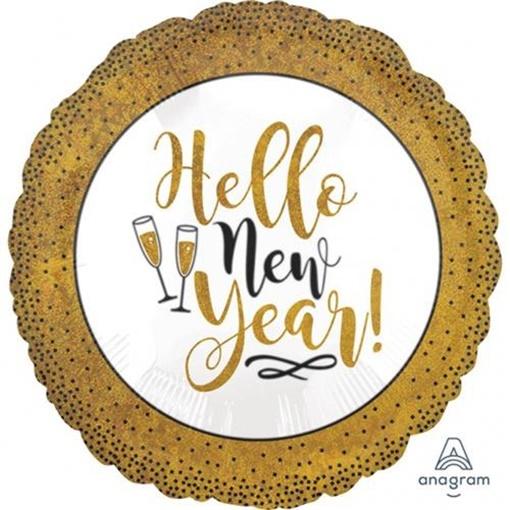 Obrázek z Foliový balonek glitrový zlatý Happy New Year 46 cm