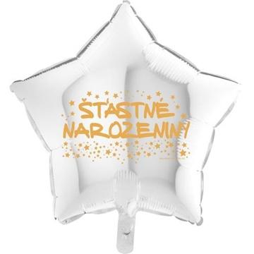 Obrázek Foliový balonek hvězda Šťastné narozeniny - bílá 45 cm