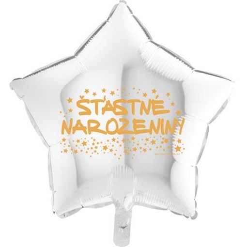 Obrázek z Foliový balonek hvězda Šťastné narozeniny - bílá 45 cm