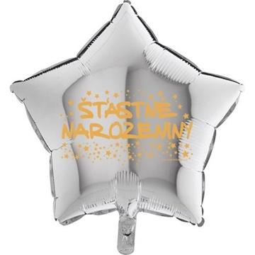 Obrázek Foliový balonek hvězda Šťastné narozeniny - stříbrná 45 cm