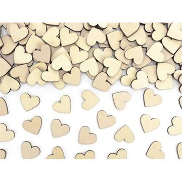 Obrázek Dřevěné konfety srdce 50 ks - 2x2 cm
