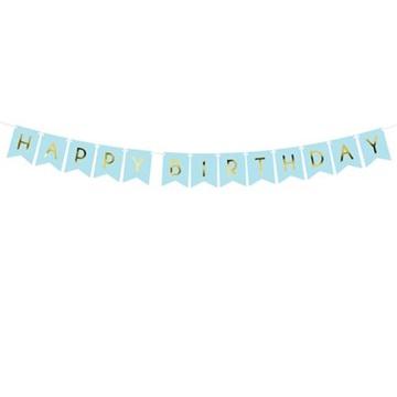 Obrázek Party nápis Happy Birthday vlaječky modré 175 cm