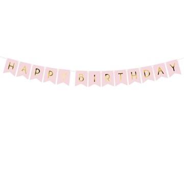 Obrázek Party nápis Happy Birthday vlaječky růžové 175 cm
