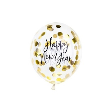 Obrázek Latexové balonky Happy New Year průhledné se zlatými konfetami 3 ks