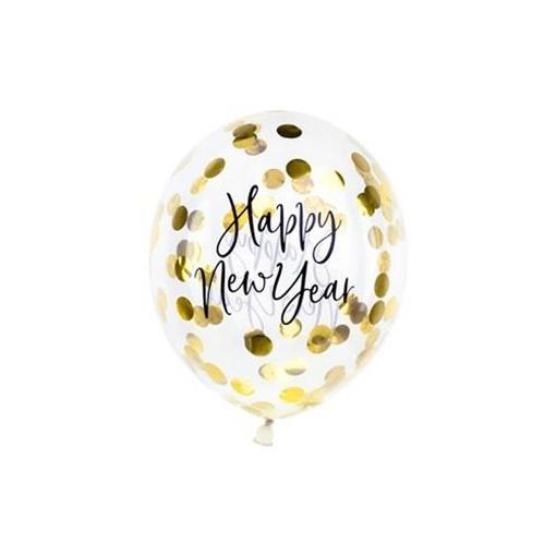 Obrázek z Latexové balonky Happy New Year průhledné se zlatými konfetami - 3 ks