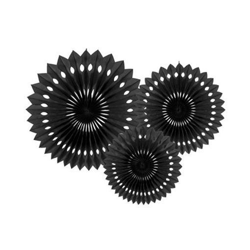 Obrázek z Dekorační rozety černé 20 až 30 cm - 3 ks