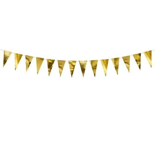 Obrázek z Vlaječková girlanda zlatá metalická 215 cm