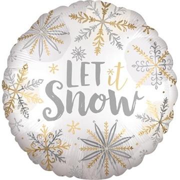 Obrázek Foliový balonek kulatý vločky Let it snow 45 cm