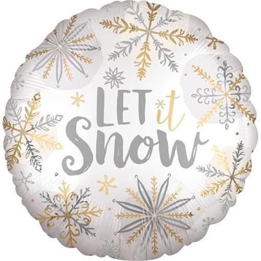 Obrázek z Foliový balonek kulatý vločky Let it snow 45 cm