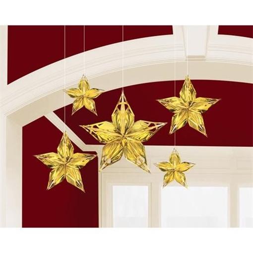 Obrázek z Závěsná dekorace zlaté hvězdy 5 ks