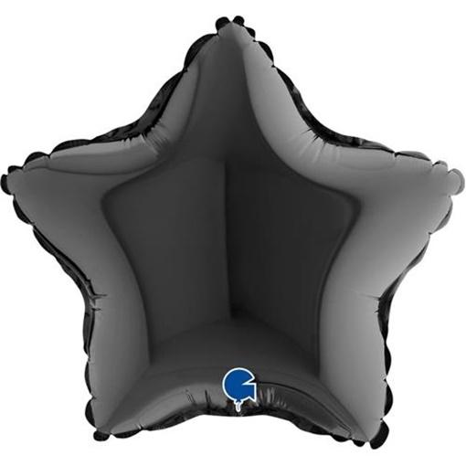 Obrázek z Foliový balonek hvězda černá 23 cm