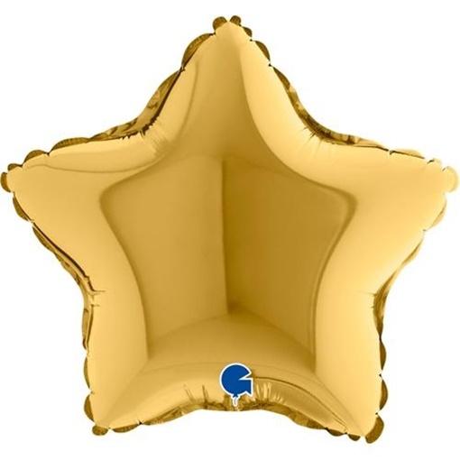Obrázek z Foliový balonek hvězda zlatá 23 cm