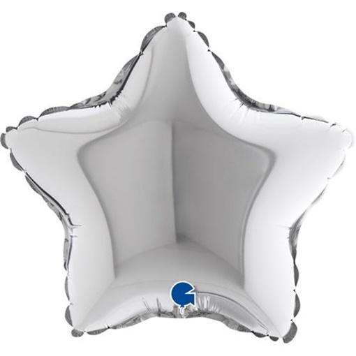Obrázek z Foliový balonek hvězda stříbrná 23 cm