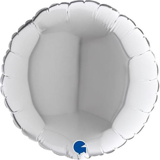 Obrázek z Foliový balonek kruh stříbrný 23 cm