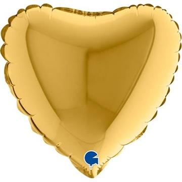 Obrázek Foliový balonek srdce zlaté 23 cm